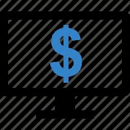 compute, money, online, screen icon