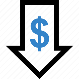 dollar, down, investment, money, sign icon