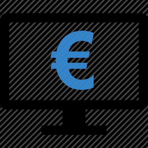 computer, dollar, euro, sign icon