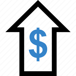 arrow, dollar, investment, sign, up icon