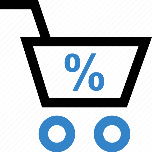 cart, percentage, shop, shopping icon