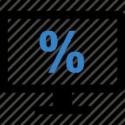 monitor, percent, percentage, sale icon