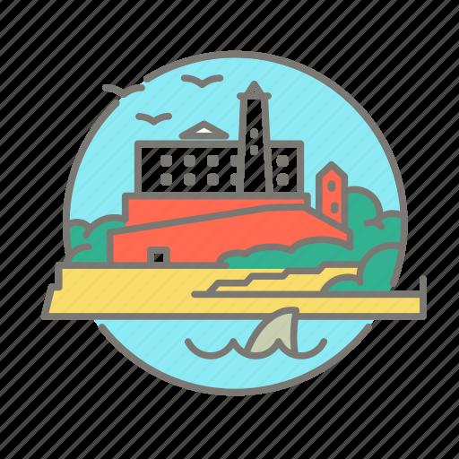 alcatraz, america, prison, san francisco, tourist icon