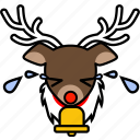 christmas, cry, deer, holiday, reindeer, sad, xmas icon