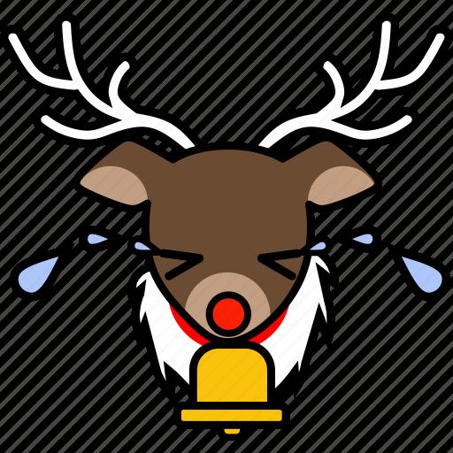 christmas, cry, deer, holiday, reindeer, sad, xmas icon