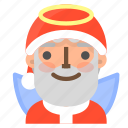 angel, avatar, christmas, emoji, face, santa, winter icon