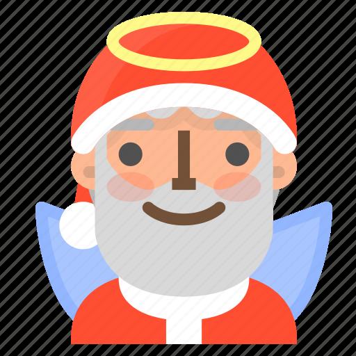 angel, avatar, christmas, emoji, face, santa, winter icon
