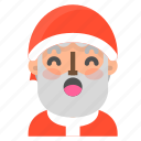 atonished, avatar, christmas, emoji, face, santa, winter icon