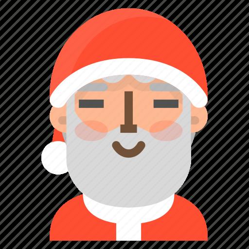 avatar, christmas, contented, emoji, face, santa, winter icon