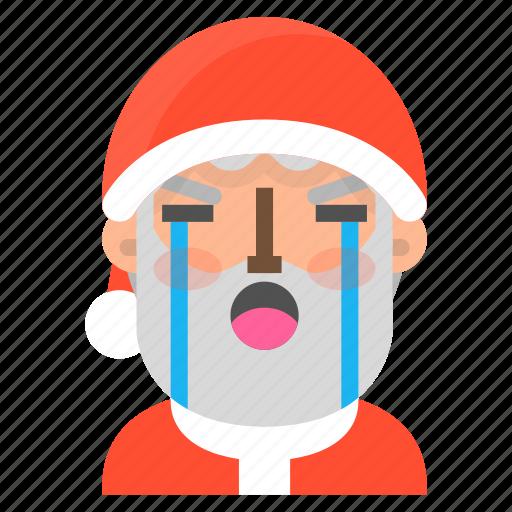 avatar, christmas, crying, emoji, face, santa, winter icon