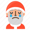 avatar, christmas, crying, emoji, face, santa, winter icon
