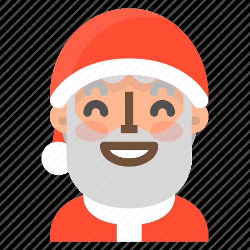avatar, christmas, emoji, face, glad, santa, winter icon