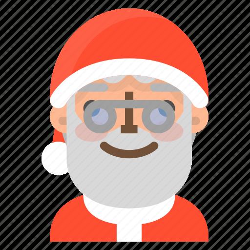avatar, christmas, emoji, face, nerd, santa, winter icon