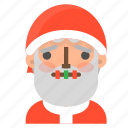 avatar, christmas, emoji, face, santa, silence, winter icon