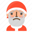 avatar, christmas, emoji, face, sad, santa, winter icon