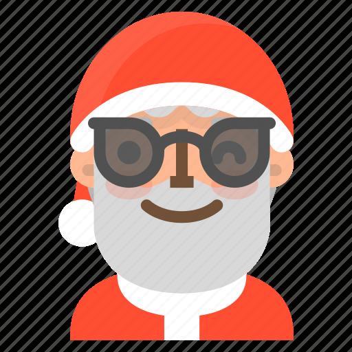 avatar, christmas, emoji, face, santa, sunglasses, winter icon