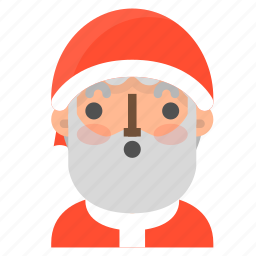 avatar, christmas, emoji, face, santa, surprised, winter icon