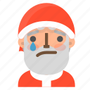 avatar, christmas, emoji, face, santa, tear, winter icon