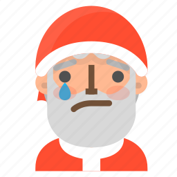 avatar, christmas, emoji, face, santa, tear, winter icon