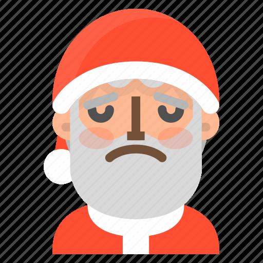 avatar, christmas, emoji, face, santa, upset, winter icon