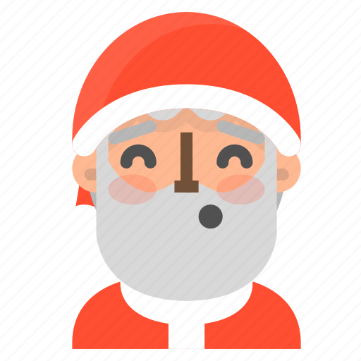 avatar, christmas, emoji, face, santa, whistling, winter icon