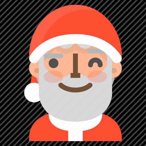 avatar, christmas, emoji, face, santa, wink, winter icon