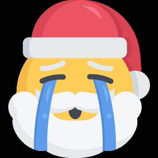 Christmas, crying, emoji, sad, santa icon
