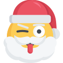 christmas, emoji, santa, tongue, wink