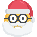 christmas, emoji, nerd, santa, smart icon