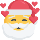 christmas, emoji, inlove, love, santa icon