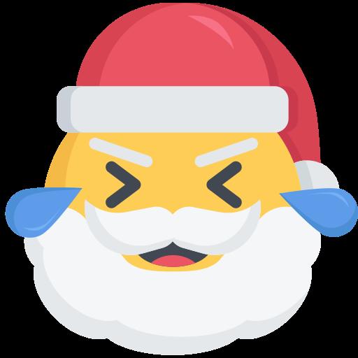 christmas, emoji, laugh, laughing, santa icon