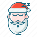 christmas, emoticon, santa, sleepy icon