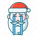 christmas, cry, emoticon, santa icon