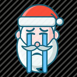 christmas, cry, emoticon, santa icon
