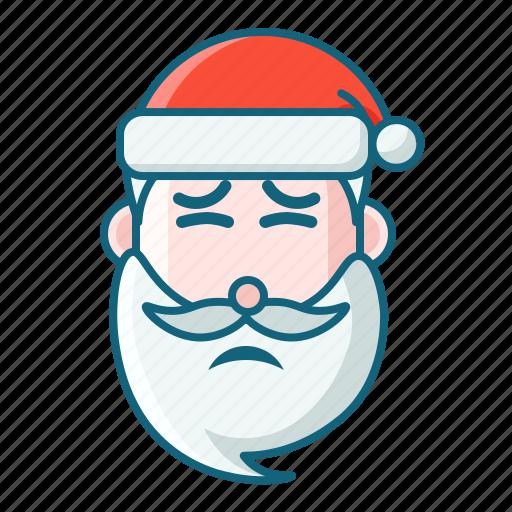 christmas, disgusting, emoticon, pain, santa icon