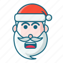 christmas, emoticon, santa, shock icon