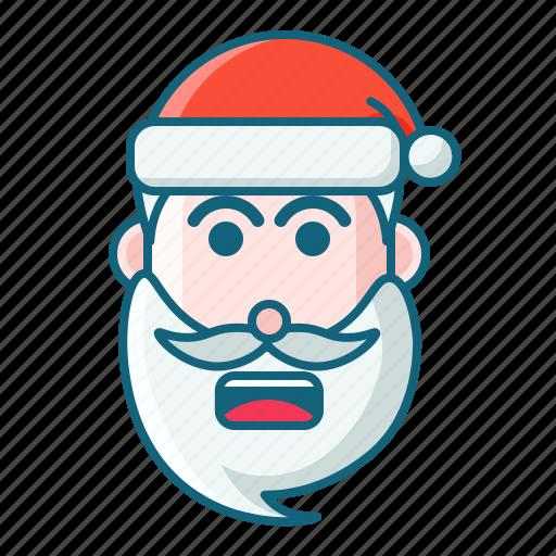 christmas, emoticon, santa, shock icon