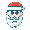 christmas, emoticon, santa, scare icon