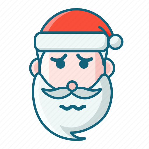 christmas, emoticon, sad, santa, scare icon