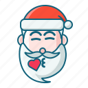 christmas, emoticon, kiss, santa icon