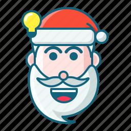 christmas, emoticon, idea, santa icon