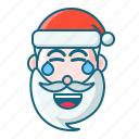 christmas, emoticon, laugh, santa icon