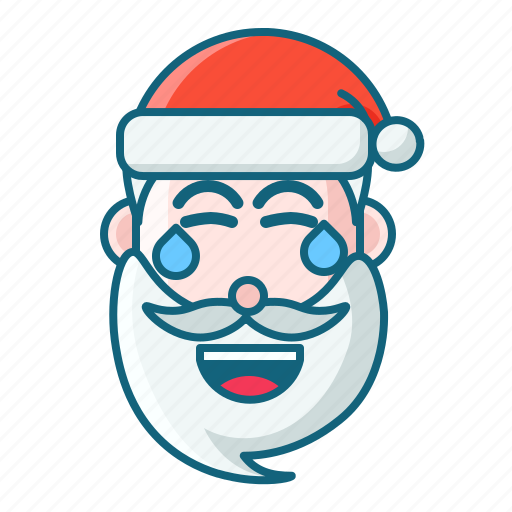 christmas, emoticon, laugh, santa icon