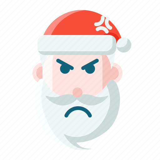 angry, christmas, emoticon, santa icon