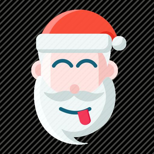 christmas, emoticon, joking, santa icon