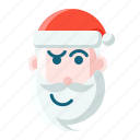 christmas, confuse, emoticon, santa icon