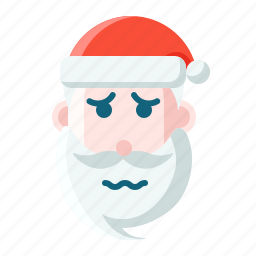 christmas, emoticon, sad, santa, scare icon