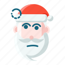 christmas, emoticon, santa, thinking icon