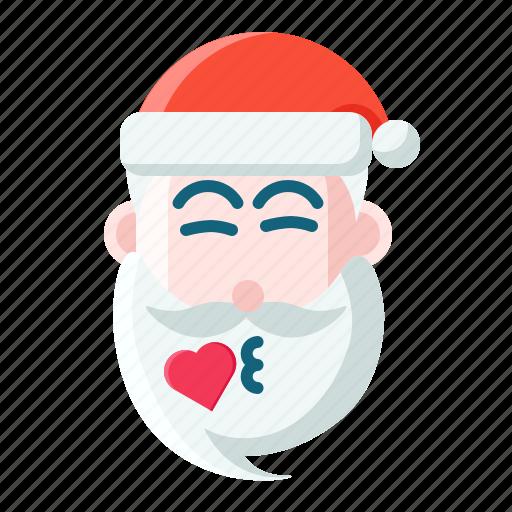 christmas, emoticon, kiss, santa icon