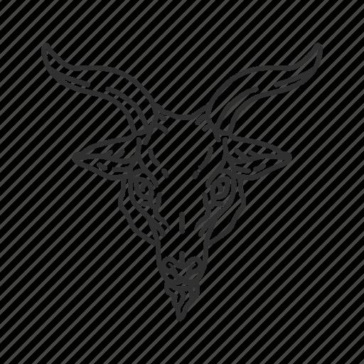 animal, goat, goat head, satanism icon